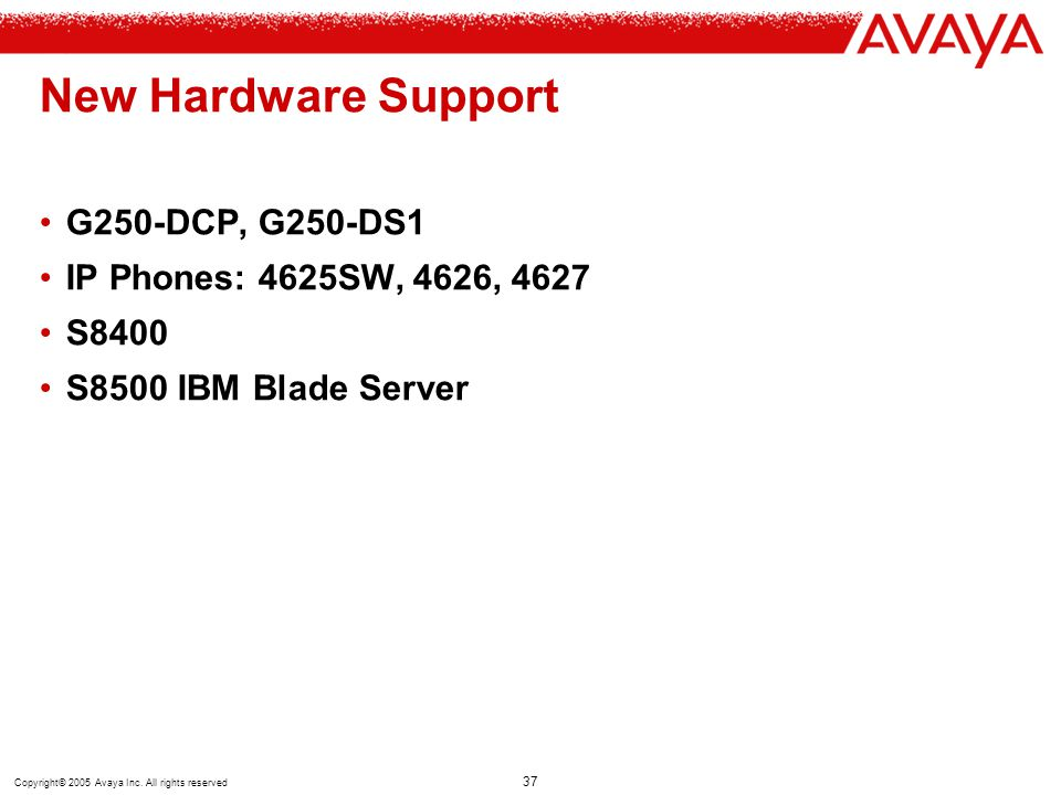 New Hardware Support G250-DCP, G250-DS1 IP Phones: 4625SW, 4626, 4627