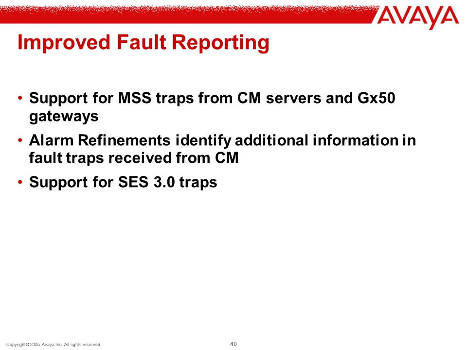 Improved Fault Reporting