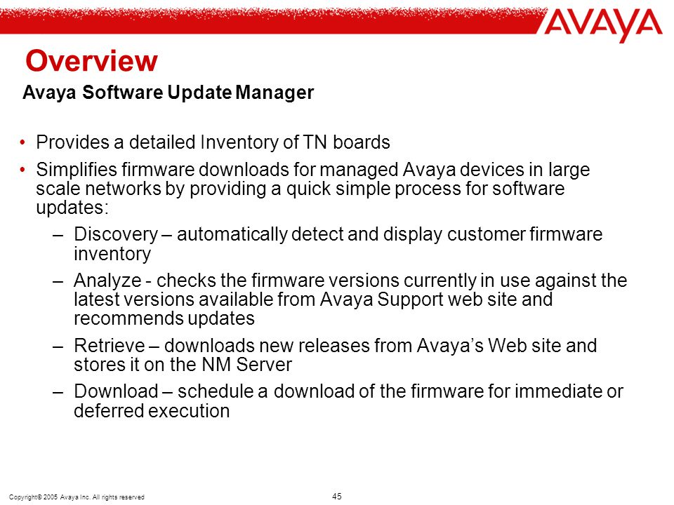 Overview Avaya Software Update Manager