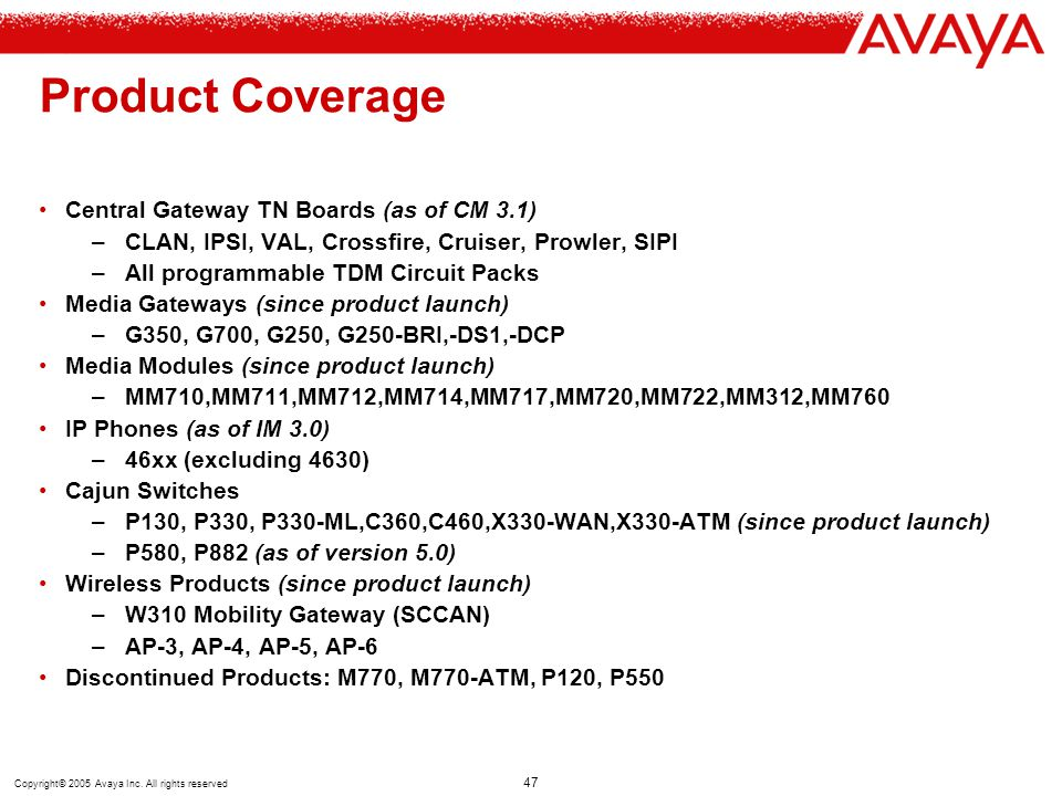 Product Coverage Central Gateway TN Boards (as of CM 3.1)
