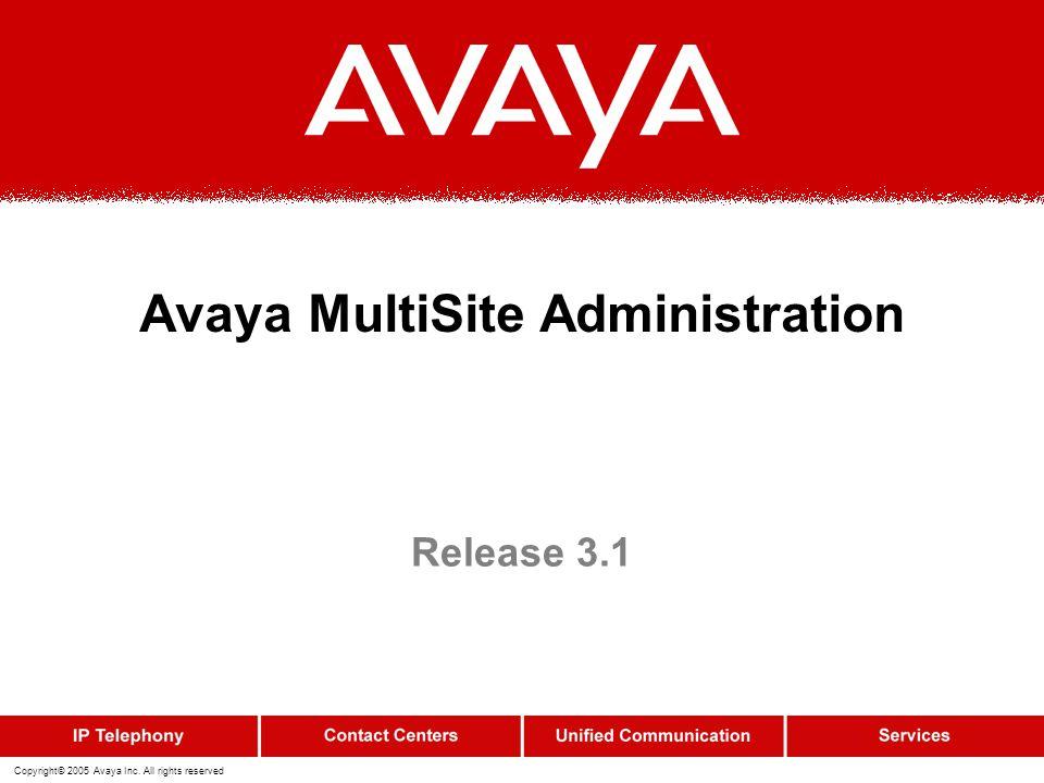 Avaya MultiSite Administration