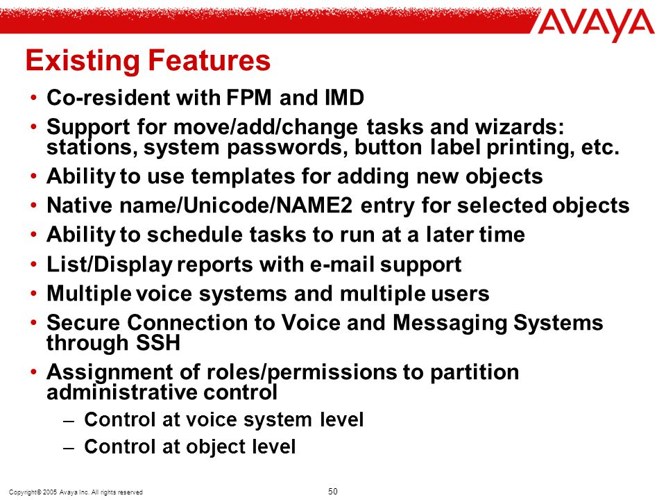 Existing Features Co-resident with FPM and IMD