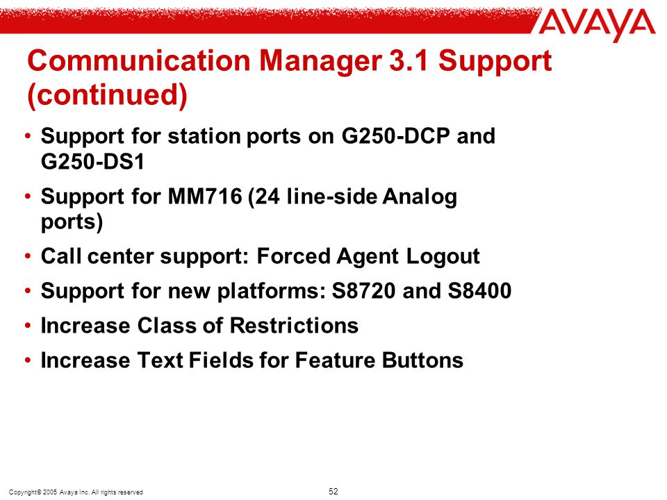 Communication Manager 3.1 Support (continued)