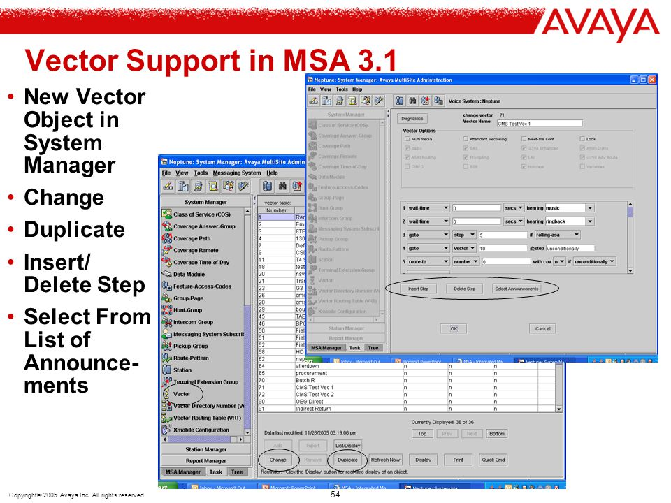 Vector Support in MSA 3.1 New Vector Object in System Manager Change