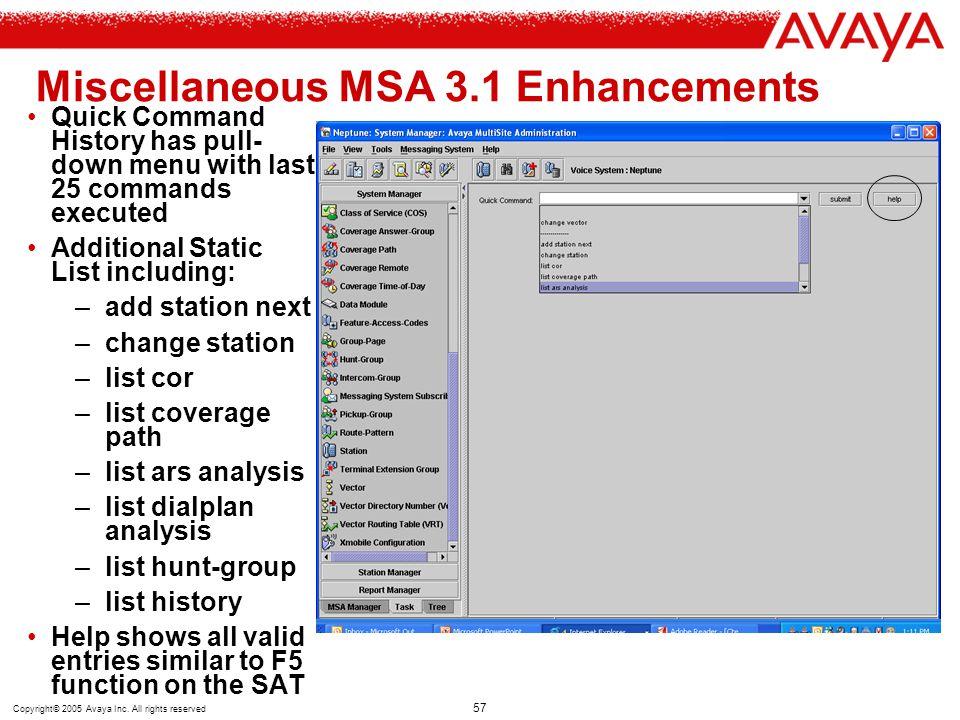 Miscellaneous MSA 3.1 Enhancements