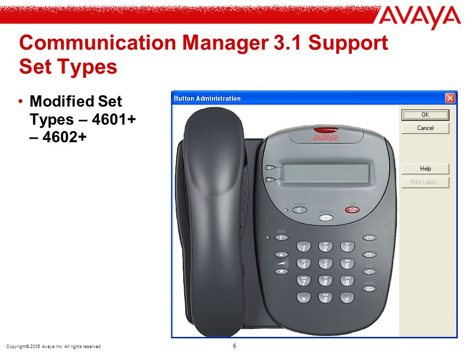 Communication Manager 3.1 Support Set Types