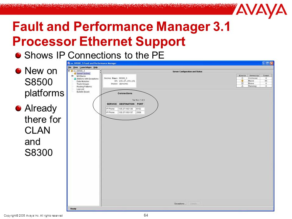 Fault and Performance Manager 3.1 Processor Ethernet Support