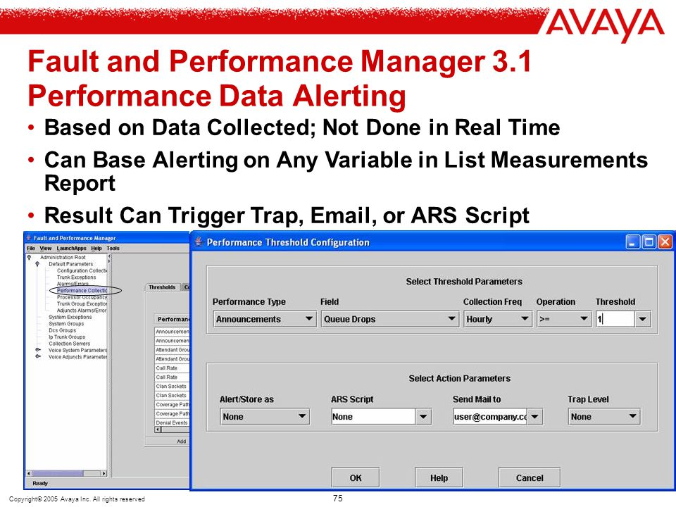 Fault and Performance Manager 3.1 Performance Data Alerting