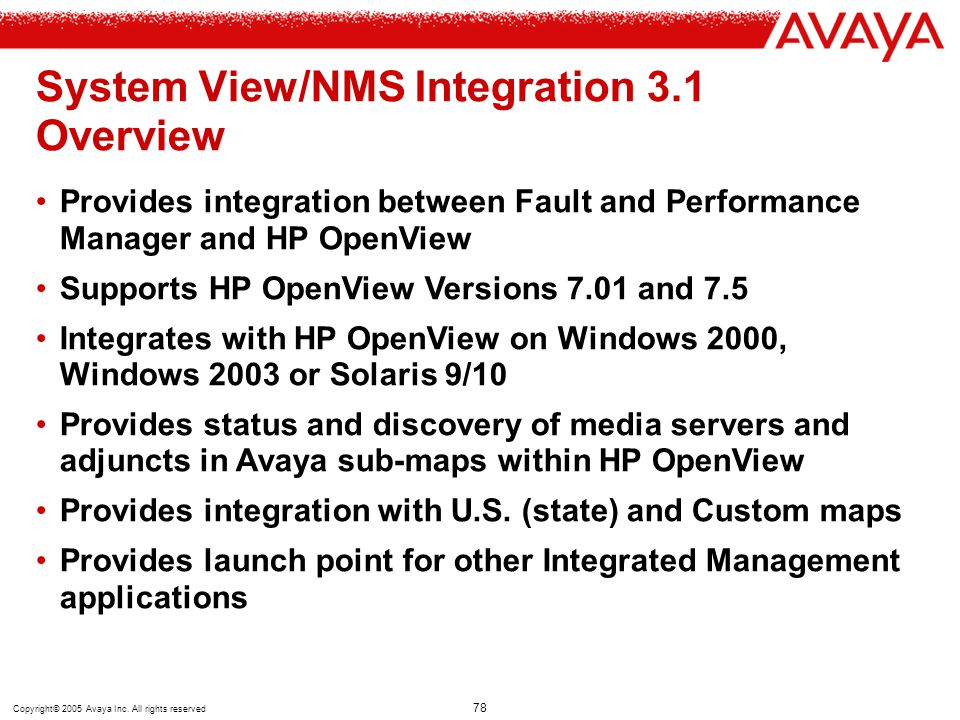 System View/NMS Integration 3.1 Overview