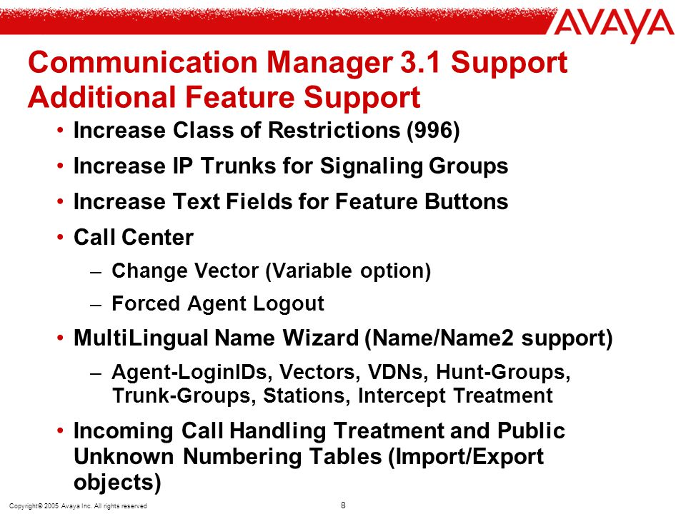 Communication Manager 3.1 Support Additional Feature Support