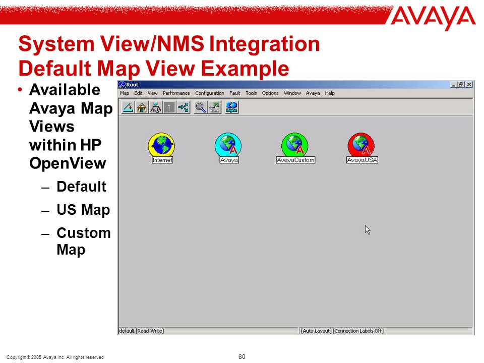 System View/NMS Integration Default Map View Example