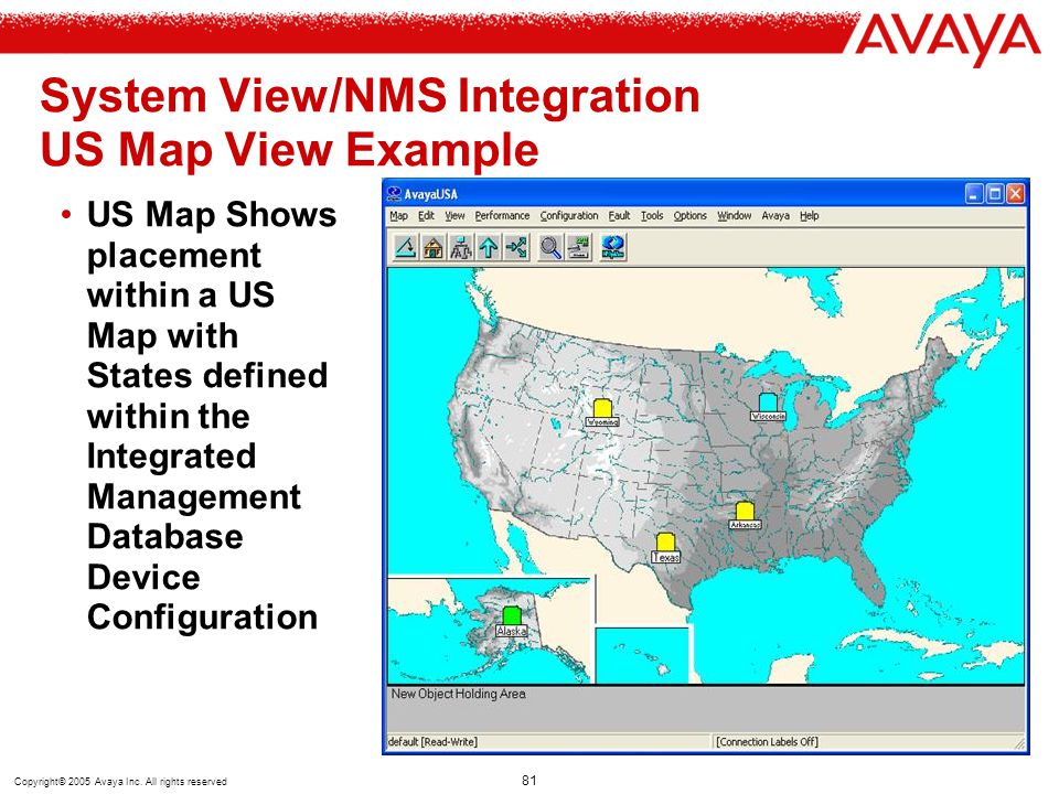 System View/NMS Integration US Map View Example