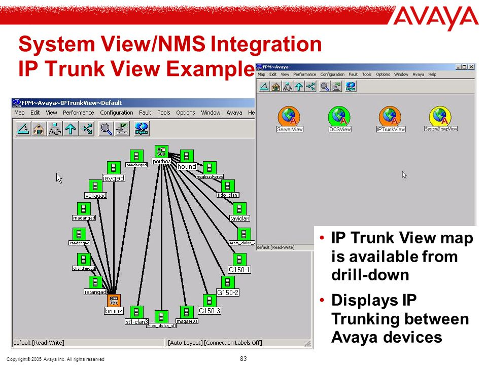 System View/NMS Integration IP Trunk View Example
