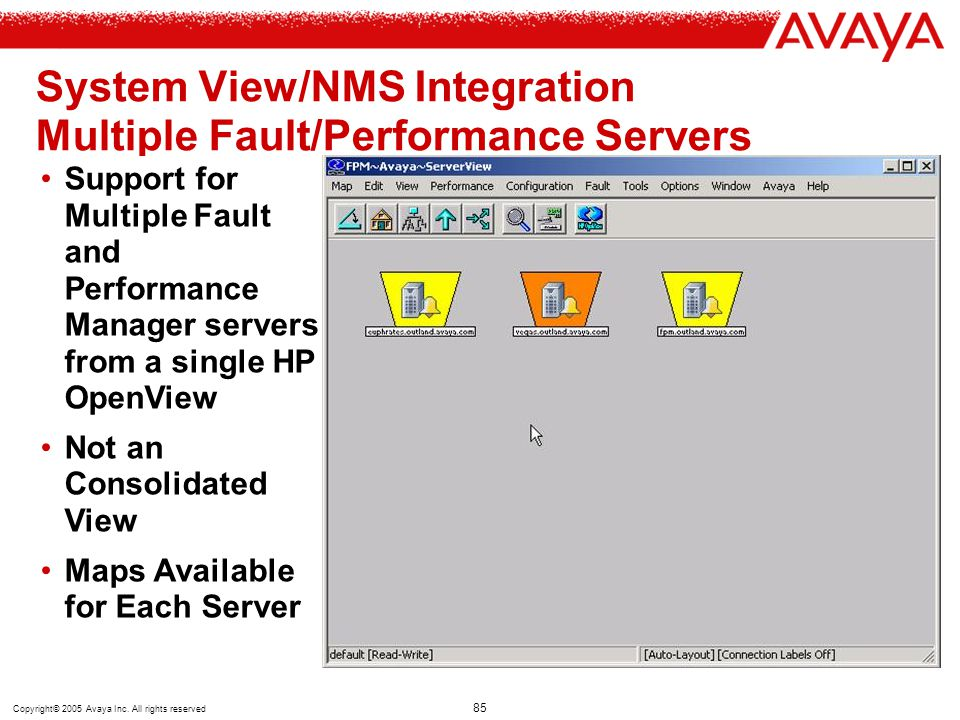 System View/NMS Integration Multiple Fault/Performance Servers (Scalability)