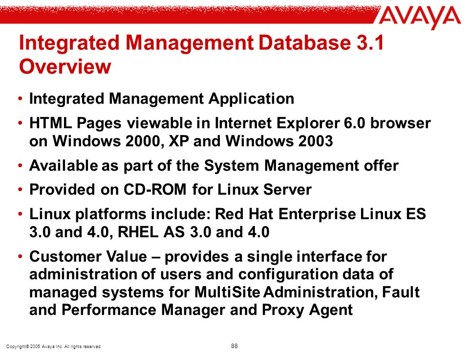 Integrated Management Database 3.1 Overview
