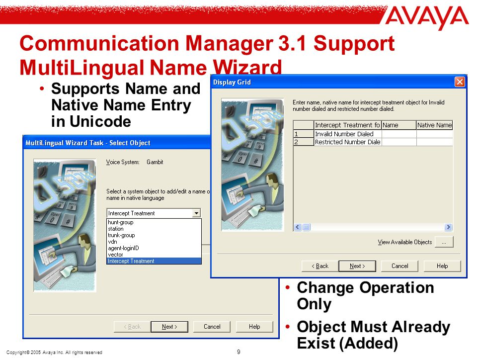 Communication Manager 3.1 Support MultiLingual Name Wizard