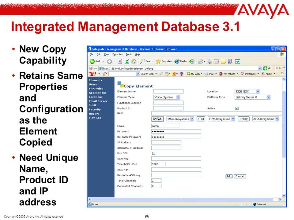Integrated Management Database 3.1