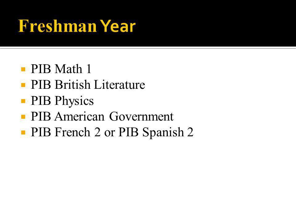 Freshman Year PIB Math 1 PIB British Literature PIB Physics