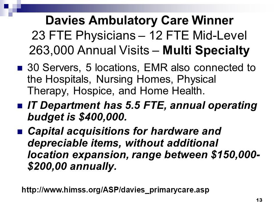 Davies Ambulatory Care Winner 23 FTE Physicians – 12 FTE Mid-Level 263,000 Annual Visits – Multi Specialty