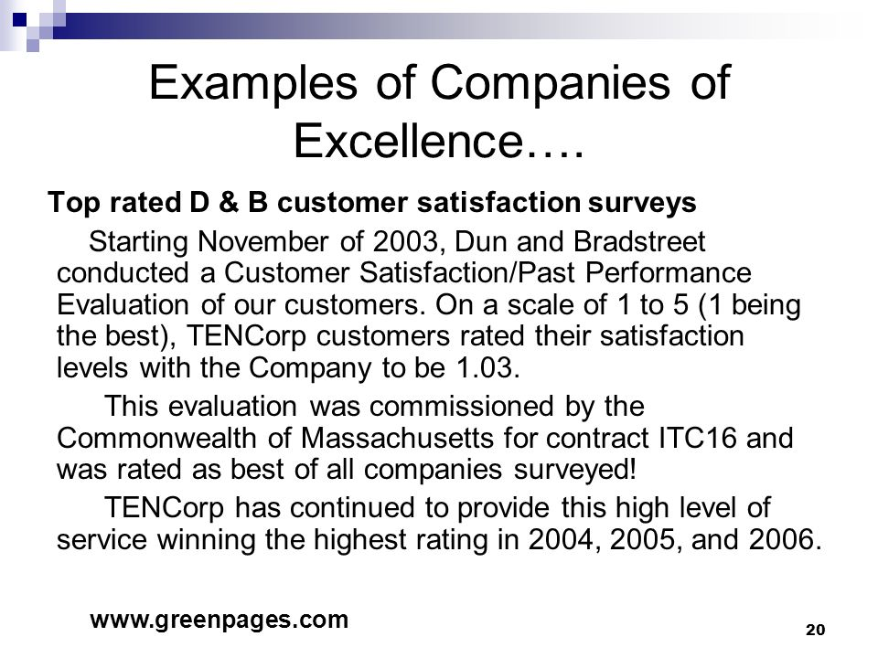 Examples of Companies of Excellence….
