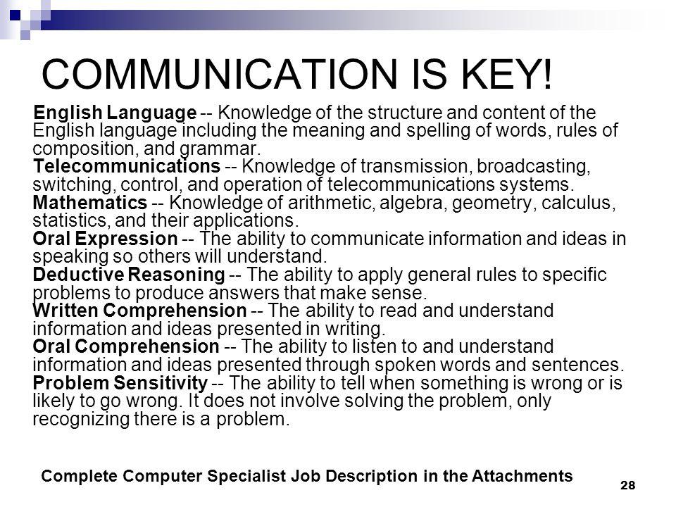 COMMUNICATION IS KEY!