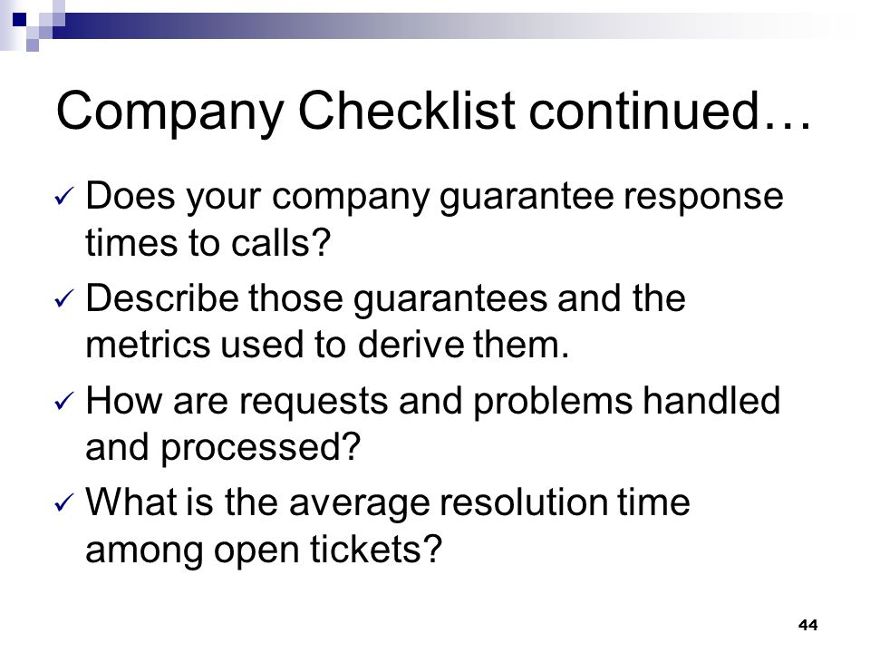 Company Checklist continued…
