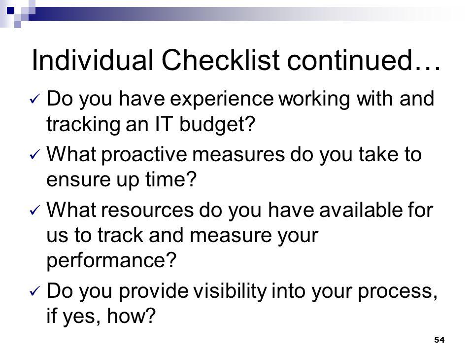 Individual Checklist continued…