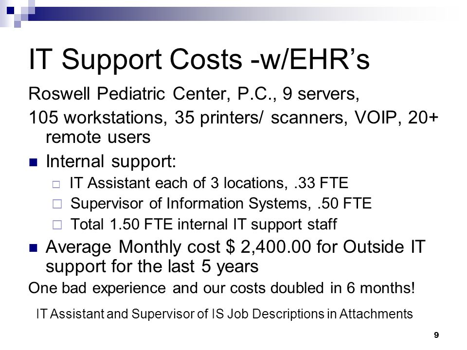IT Support Costs -w/EHR's