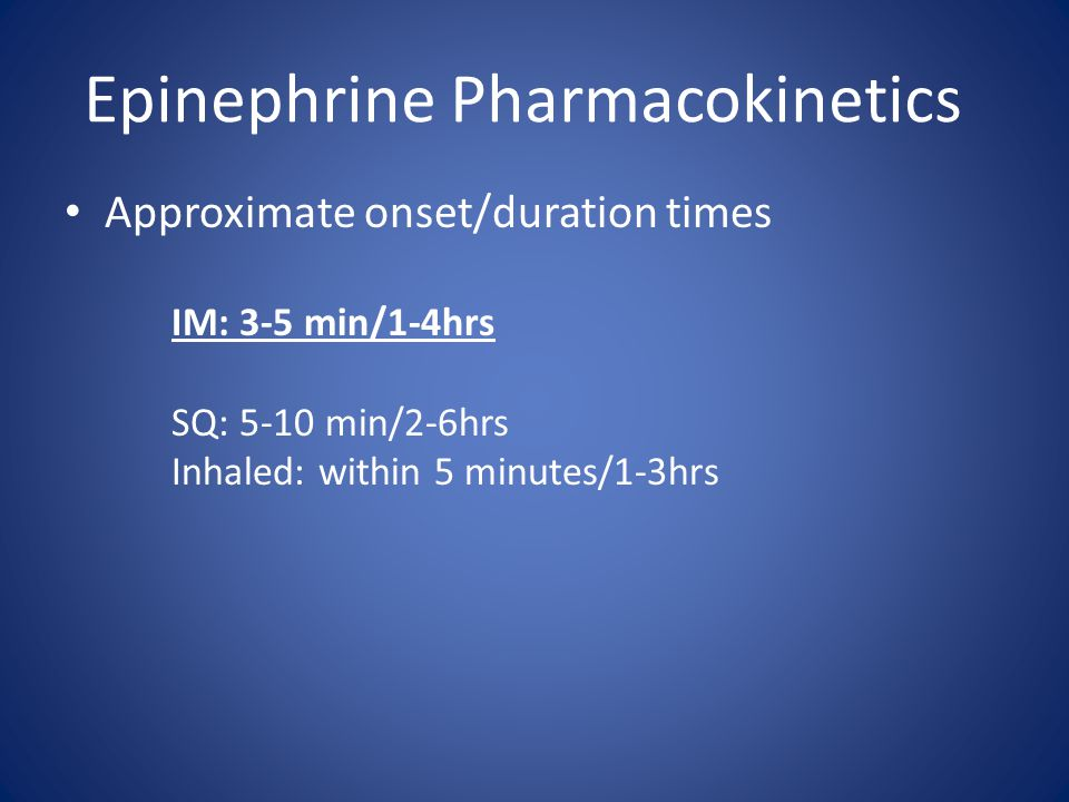 Epinephrine Pharmacokinetics