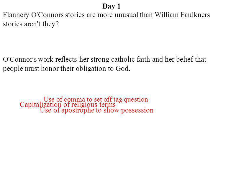 Capitalization of religious terms Use of apostrophe to show possession