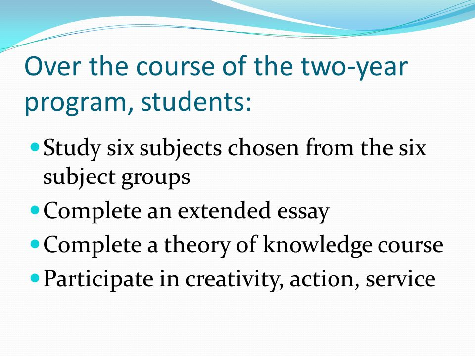 Over the course of the two-year program, students: