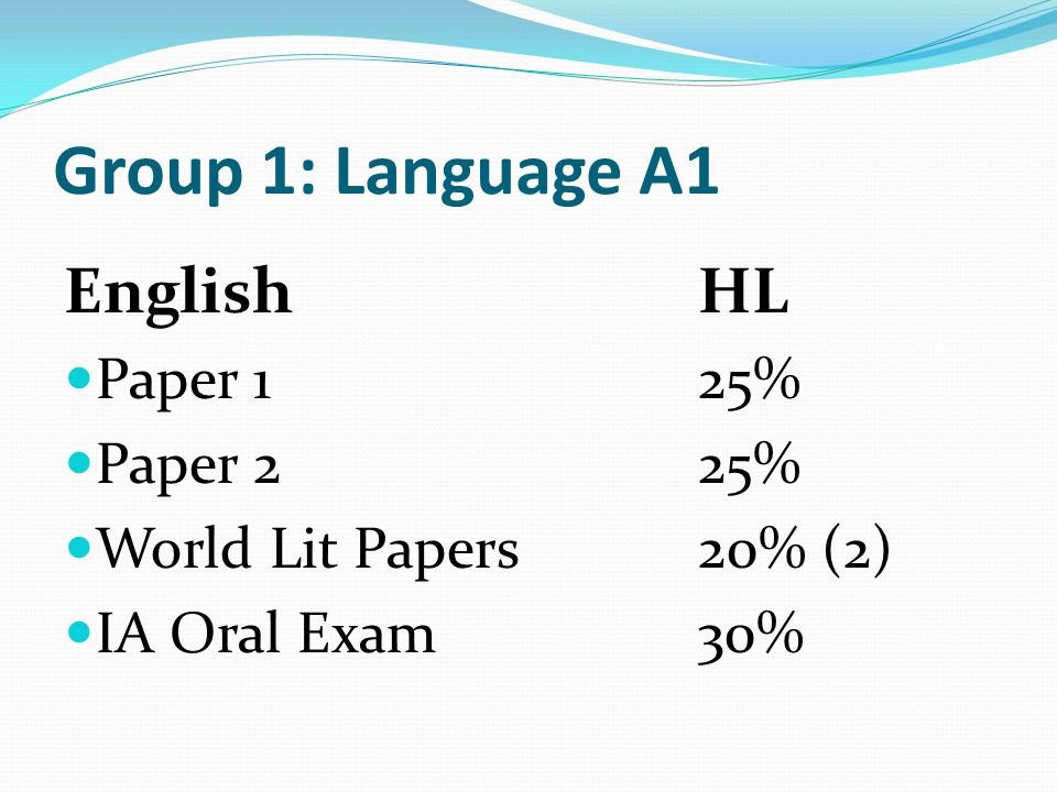 Group 1: Language A1 English HL Paper 1 25% Paper 2 25%