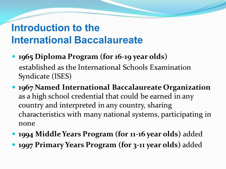 Introduction to the International Baccalaureate