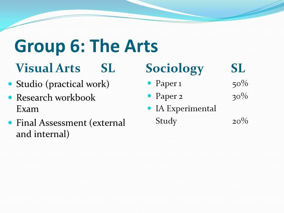 Group 6: The Arts Visual Arts SL Sociology SL Studio (practical work)