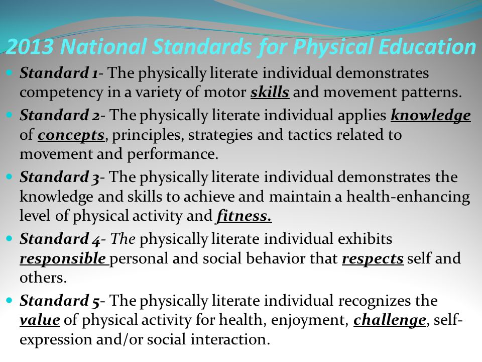 2013 National Standards for Physical Education