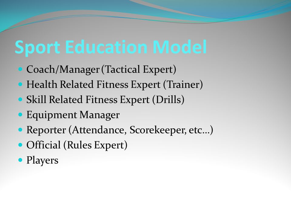 Sport Education Model Coach/Manager (Tactical Expert)