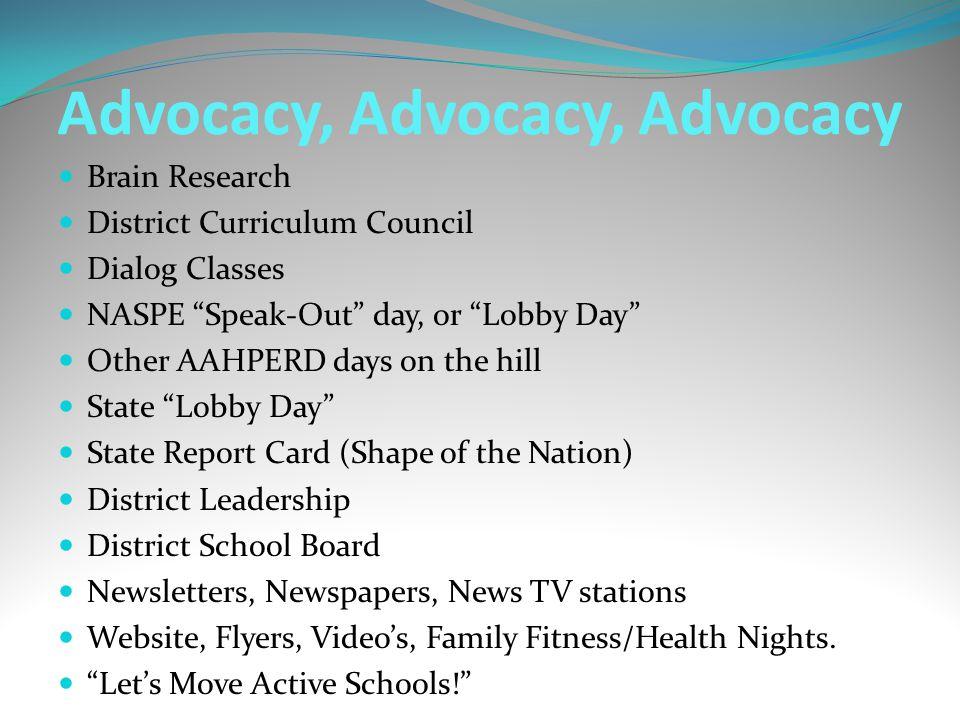 Advocacy, Advocacy, Advocacy