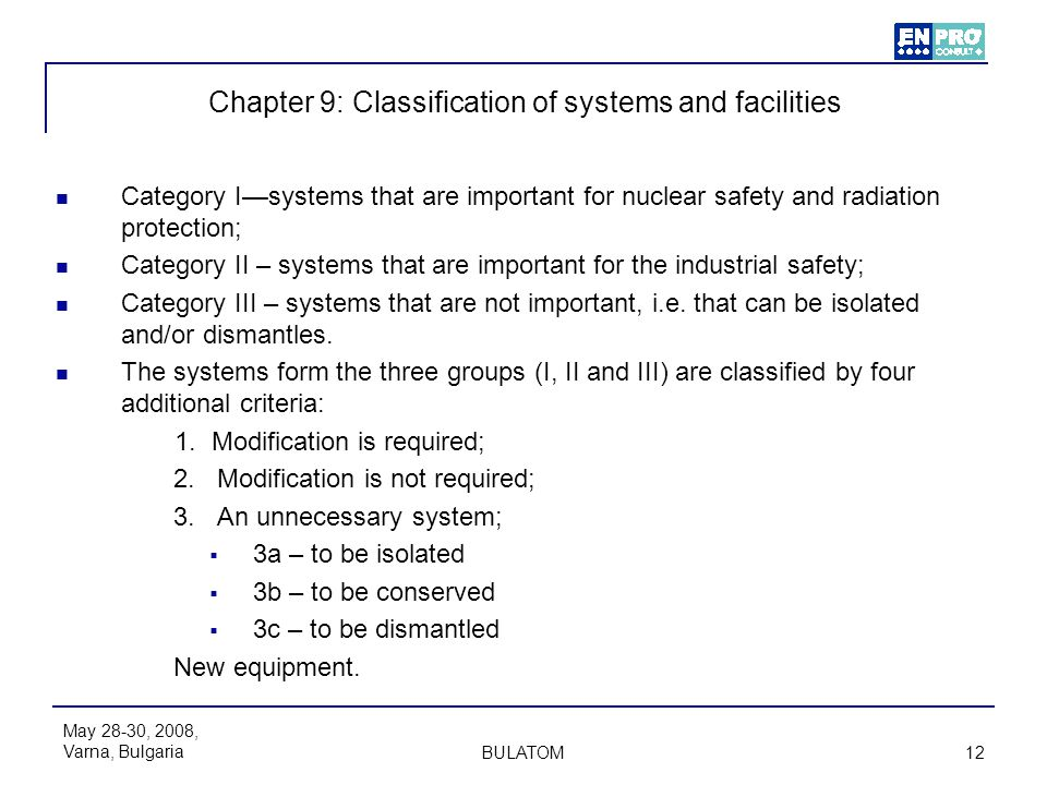 Chapter 9: Classification of systems and facilities