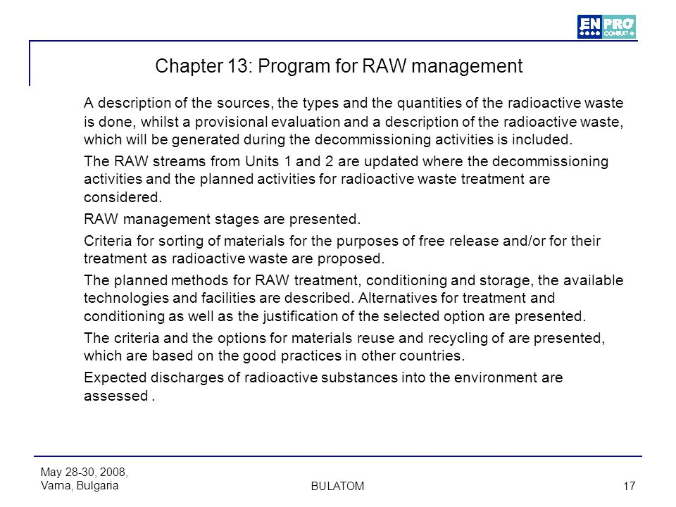 Chapter 13: Program for RAW management