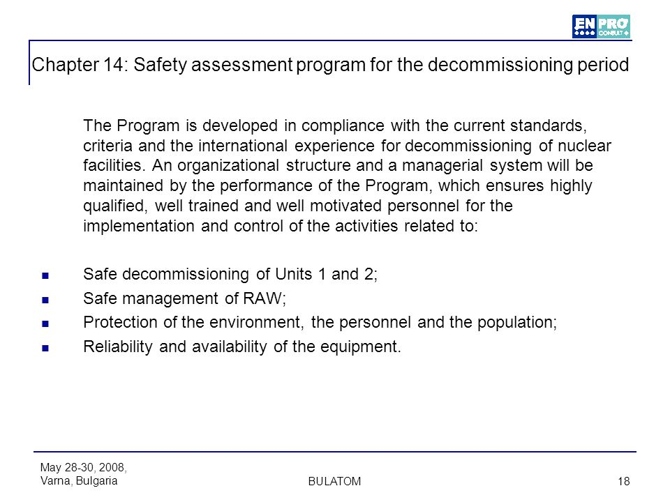 Chapter 14: Safety assessment program for the decommissioning period