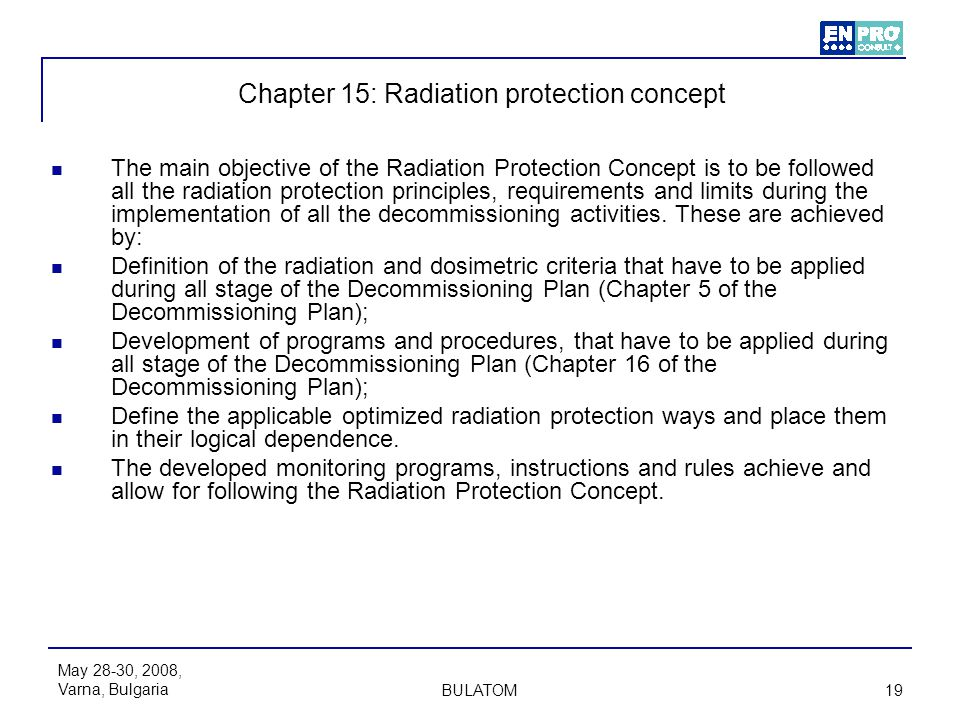 Chapter 15: Radiation protection concept