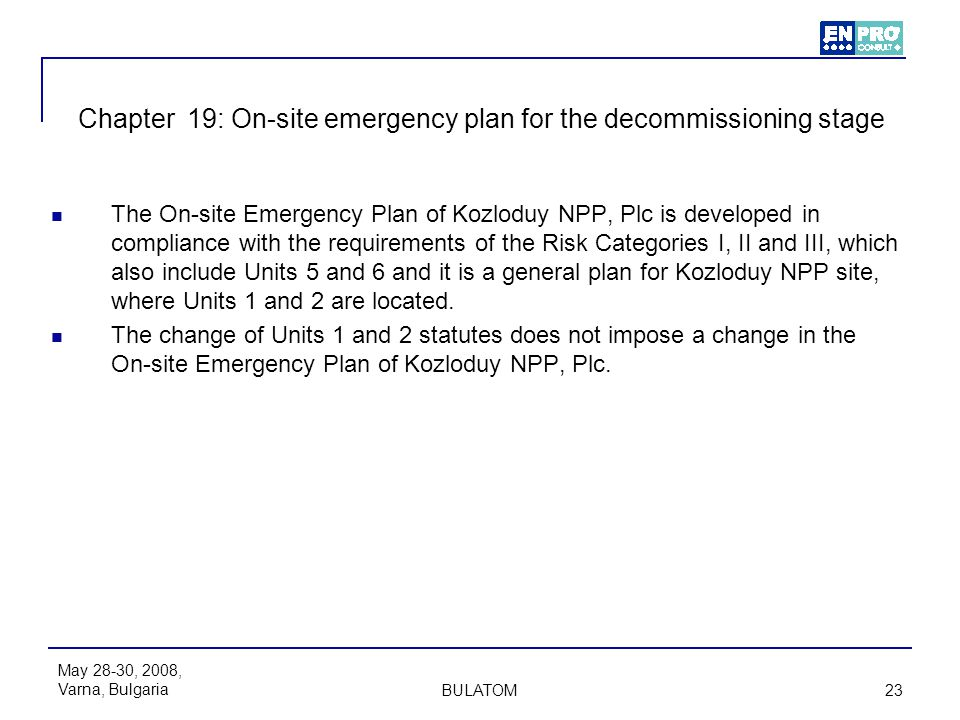 Chapter 19: On-site emergency plan for the decommissioning stage