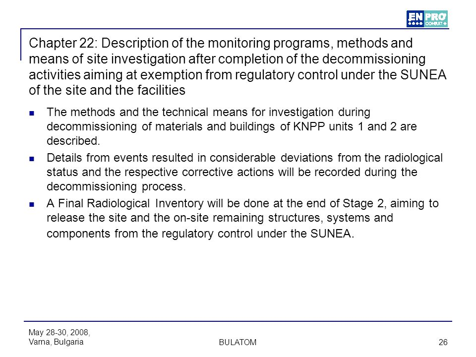 Chapter 22: Description of the monitoring programs, methods and means of site investigation after completion of the decommissioning activities aiming at exemption from regulatory control under the SUNEA of the site and the facilities