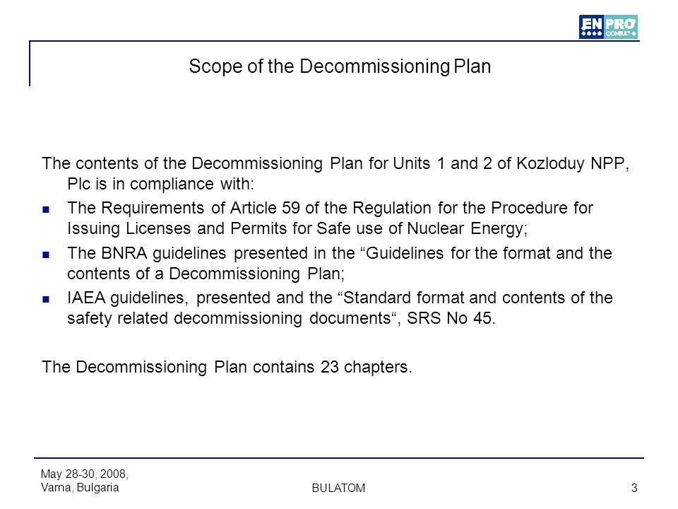 Scope of the Decommissioning Plan