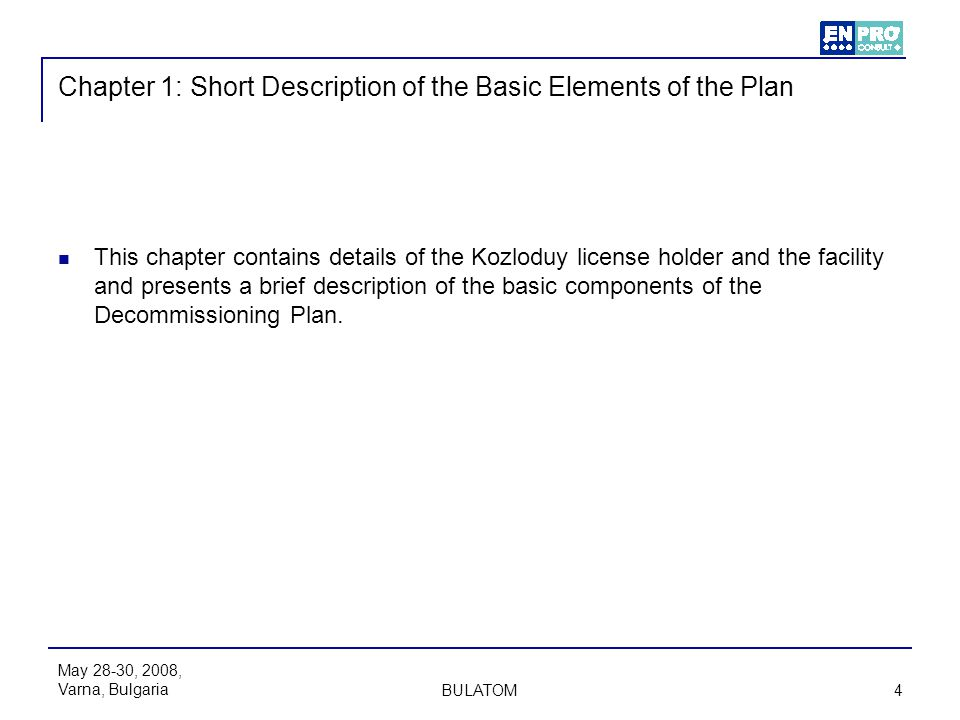 Chapter 1: Short Description of the Basic Elements of the Plan