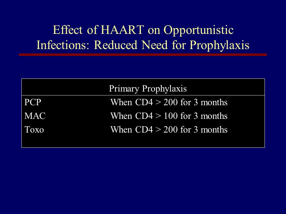 Effect of HAART on Opportunistic Infections: Reduced Need for Prophylaxis