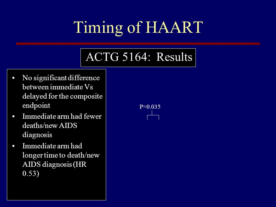 Timing of HAART ACTG 5164: Results