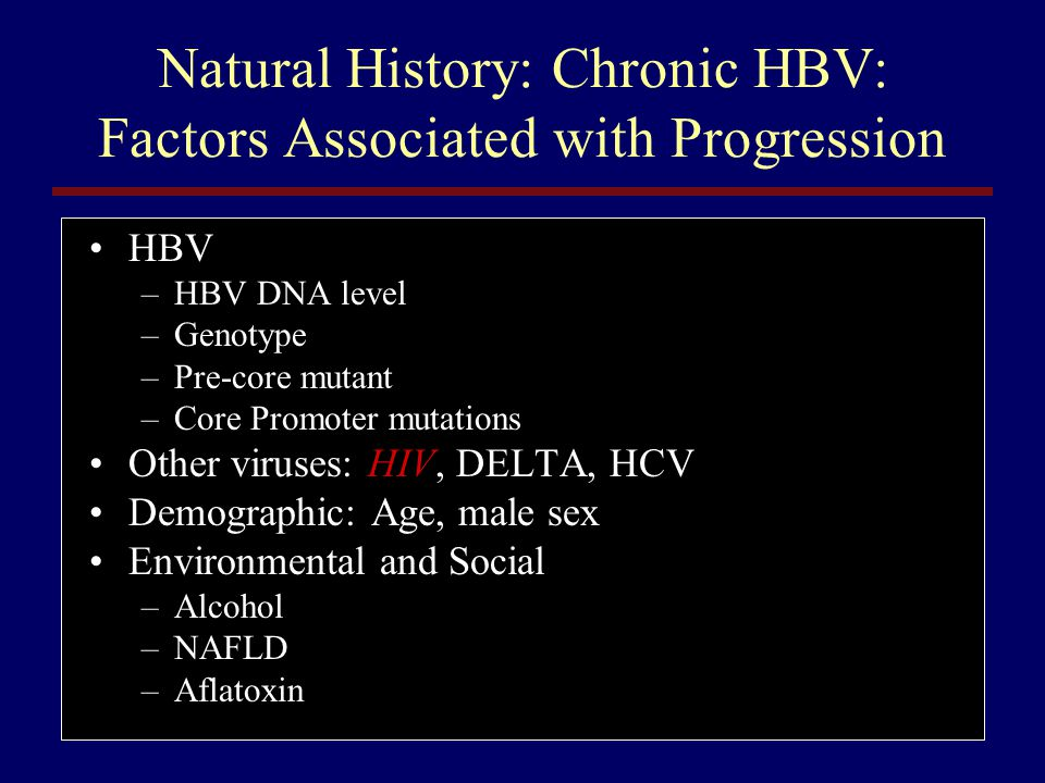 Natural History: Chronic HBV: Factors Associated with Progression
