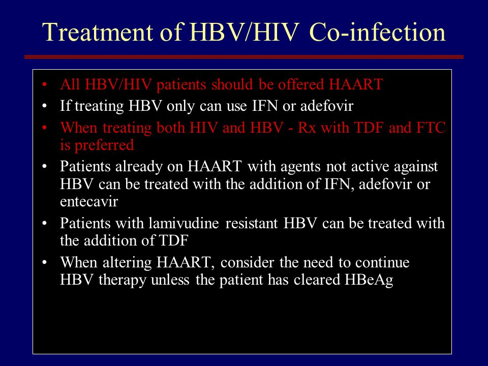 Treatment of HBV/HIV Co-infection