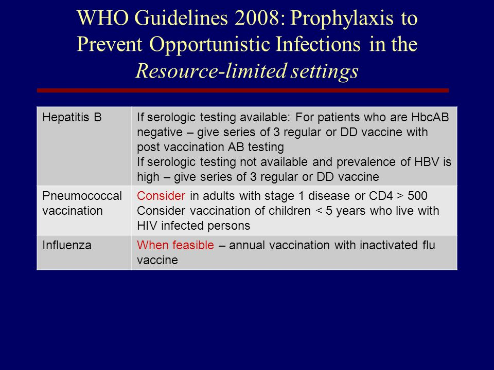 WHO Guidelines 2008: Prophylaxis to Prevent Opportunistic Infections in the Resource-limited settings
